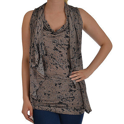 French Connection FCUK Womens Sleeveless Batwing Batik Scoop Neck Tunic Top