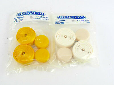 2 BENOTTO TEXTURED Yellow White Handlebar Tape Cello Bar pack Vintage Bicycle