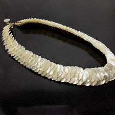 "Mother of Pearl Shell Choker Necklace Vintage Layered Circles 15x3/4"" Opalescent"
