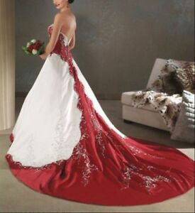 Red and white lvory satin embroidery wedding dress bridal for All red wedding dresses