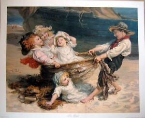art-print-THE-CATCH-Morgan-nautical-beach-Children-Playing-fish-net-vtg-re-22x18