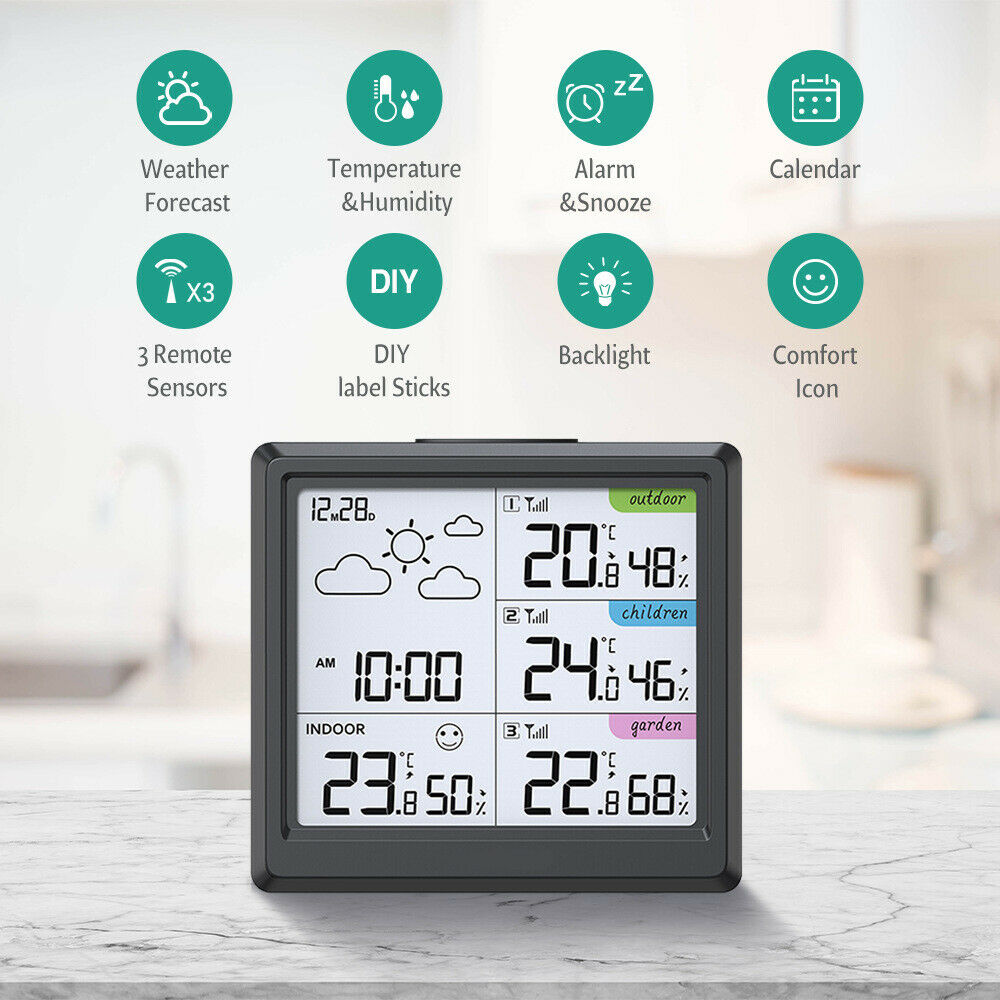 Large LCD Wireless Temperature Meter Weather Station Fit Indoor Weather Forecast