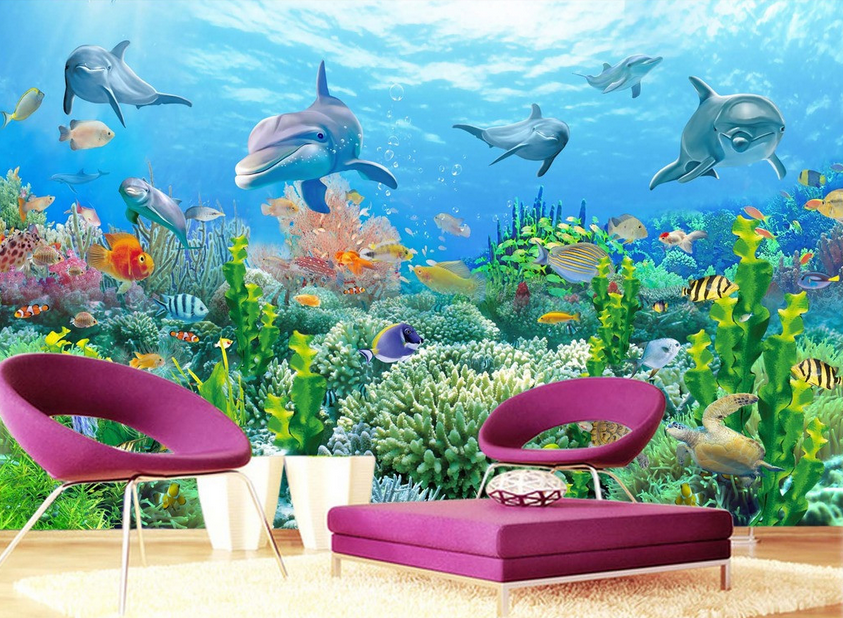3D Dolphin Grün Coral Paper Wall Print Wall Decal Wall Deco Indoor Murals