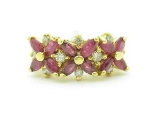 14k-Solid-Yellow-Gold-Genuine-Red-Ruby-amp-Diamond-Marquee-Design-Band-Ring-Gift