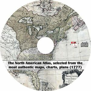 1777 North American Atlas - 23 Ancient Maps of US & Canada on CD | eBay