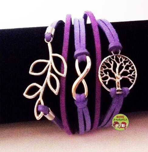 Bracciale infinito albero della vita foglia tree magic wicca morbida alcantara