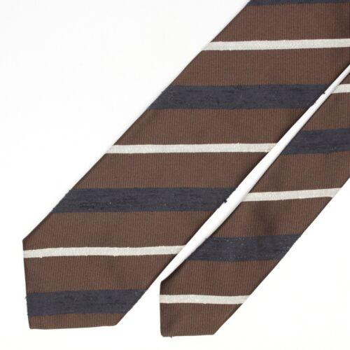 Josiah France Mens Shantung Silk Necktie Brown Navy Blue White Slub Stripe Italy