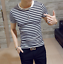 thumbnail 9 - Men-Stylish-Tee-Slim-Fit-Casual-T-shirts-Striped-Shirt-Fashion-Short-Sleeve-Tops