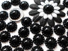 """100! elegante Negro Perla Flor flatback Adornos - 12mm/0.4 """""""