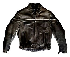 Joe-Rocket-Vtg-Mens-Gray-Cowhide-Leather-Armored-Street-Motorcycle-Riding-Jacket