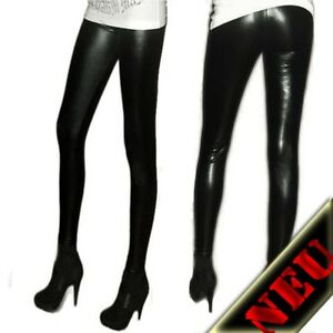 Leggings-Treggings-Leggins-Glanz-Schwarz-Hot-Sexy-S-M-L-XL-36-38-40-42-44-46-NEU
