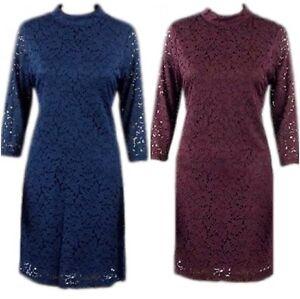 New-Ex-M-amp-S-Ladies-Floral-Lace-Party-Skater-Dress-Size-10-22-Blue-Burgundy