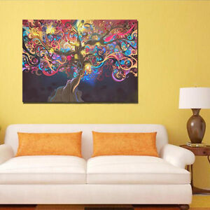 psychedelisch trippig baum abstrakte kunst seide tuch poster haus wand ebay. Black Bedroom Furniture Sets. Home Design Ideas