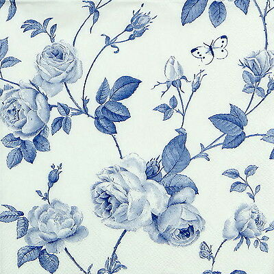 Craft Antoinette Roses Blue 4x Paper Napkins for Decoupage Party