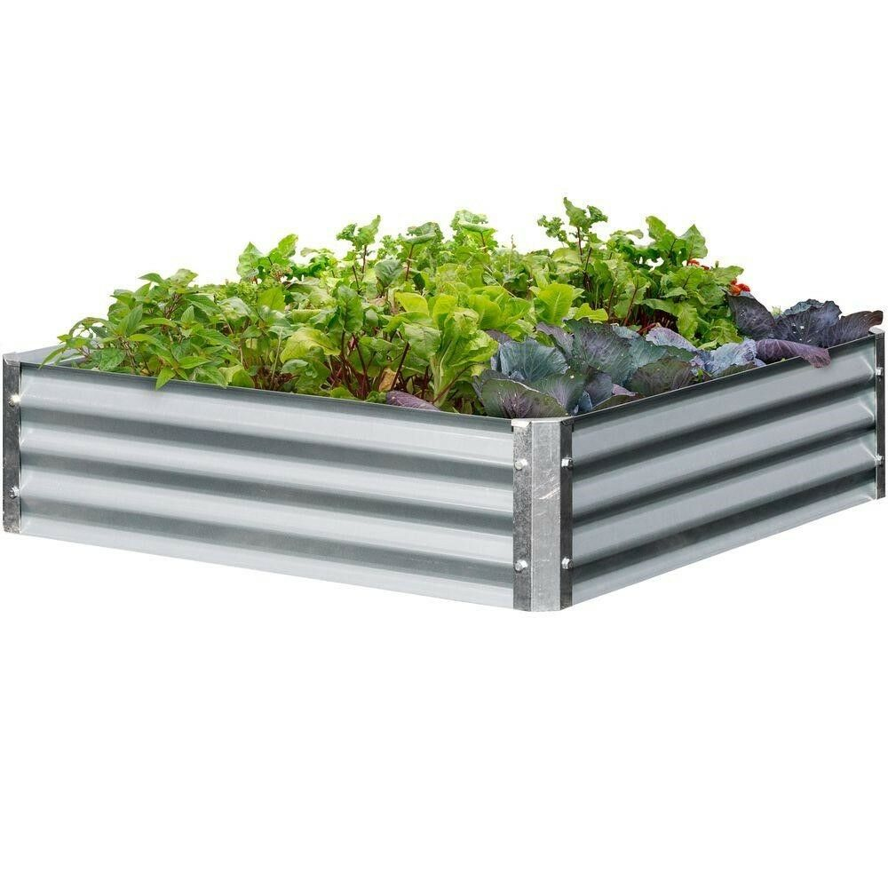 EarthMarkBajo Series 40x40x10 in. Square - Galvanized Metal Raised Garden Bed