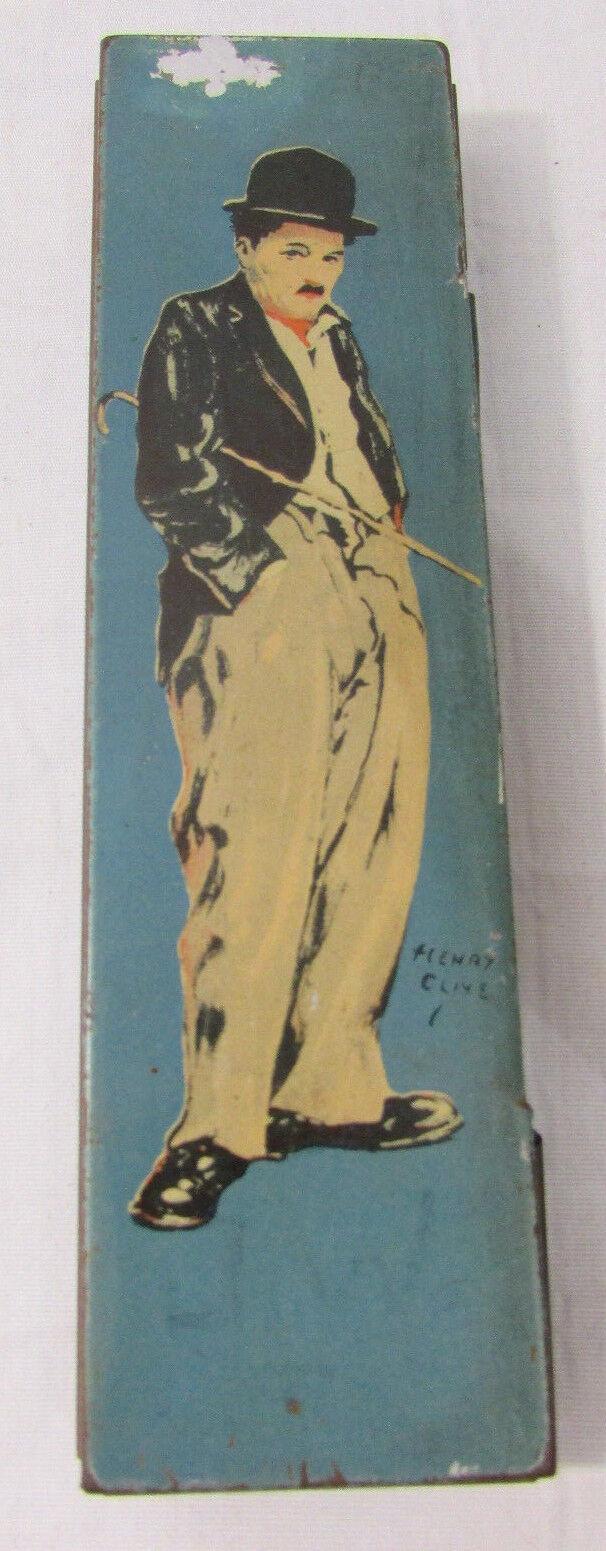 1920 s Henry Clive Charlie Chaplin Tin Litho blå Pencil låda Beautelåda Av Canco