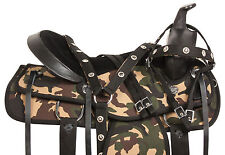 16 17 18 CAMOUFLAGE SYNTHETIC PLEASURE TRAIL BARREL WESTERN MULE SADDLE TACK SET