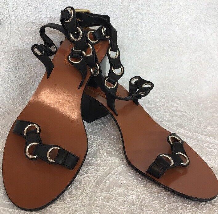 Chlóe Sandal Black Silver Silver Silver Rings Wrap Around Ankle Size 40 NEW bfe553