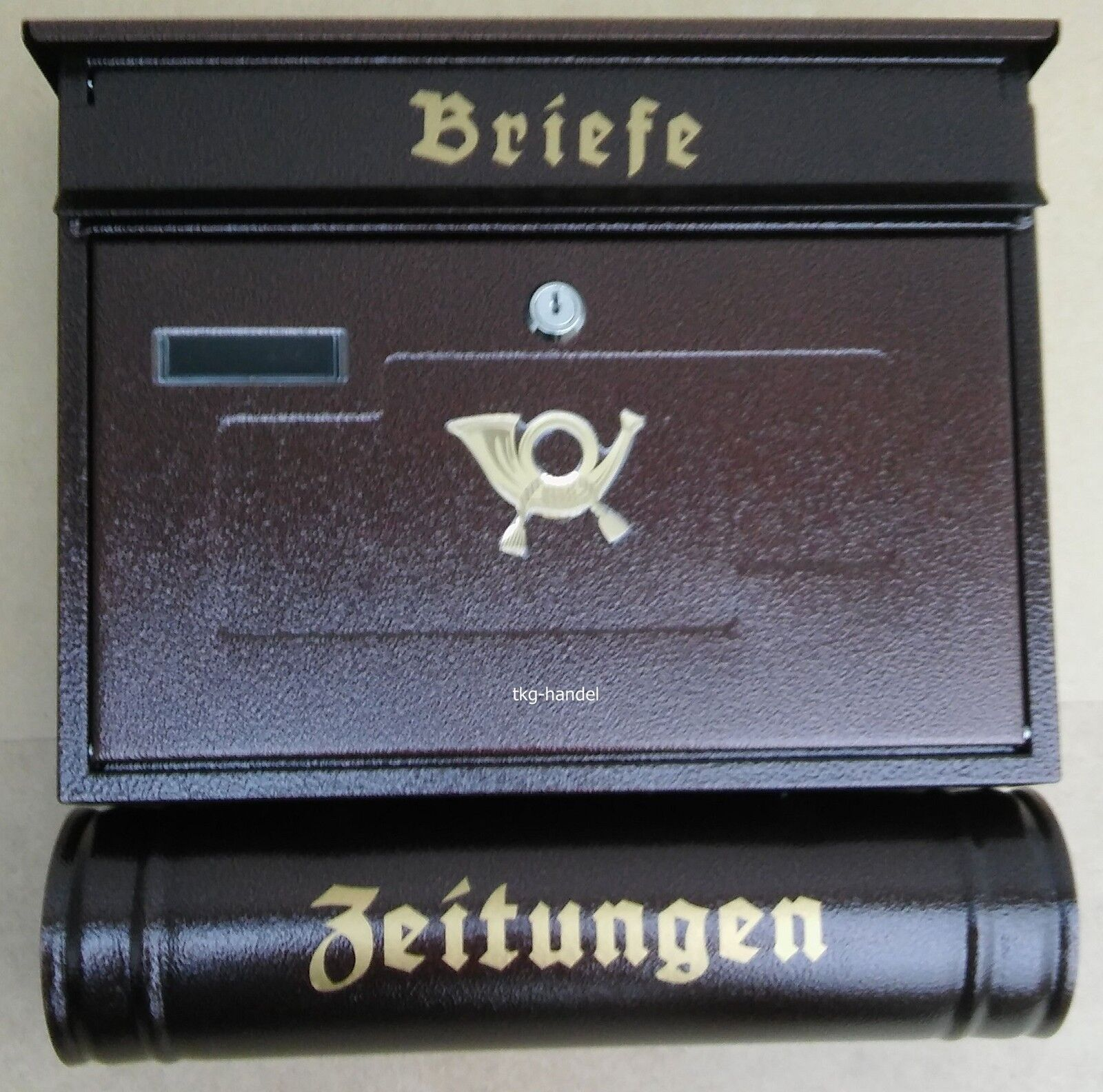 Briefkasten Großer Briefkästen XXL Zeitungsrolle Stahl DIN B4 Antik Kupfer