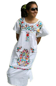 c7bc6295f16 Image is loading White-Boho-Vintage-Style-Hand-Embroidered-Tunic-Mexican-