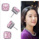 925 Sterling Silver Plated Topaz Gemstone Square Ear Stud Women Jewelry Earrings