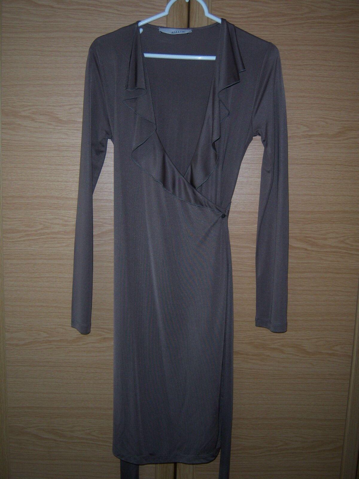 Allude Kleid Damen Frauen Stretch taupe Gr. M 100 % Seide Silk Wickelkleid Dress
