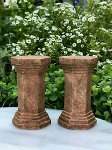 Miniature Dollhouse FAIRY GARDEN Accessories ~ Set of 2 Gray Base Pedestals