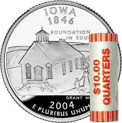 IOWA 2004 D $10 STATE QUARTER PLASTIC BANK ROLL BU