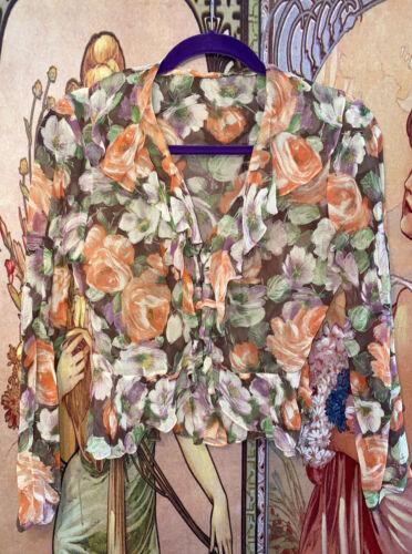 Vintage 1930s Floral Sheer Ruffle Peplum Blouse Sh