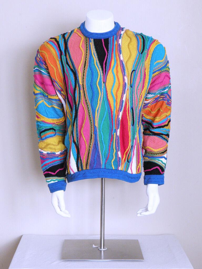 vtg 90s AUTHENTIC COOGI biggie hip hop seapunk VAPORWAVE indie mosaic sweater L