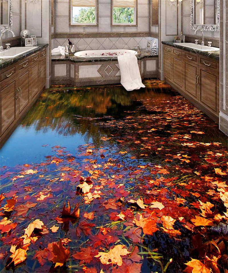 Autumn Lake Scenery3D Floor Mural Photo Flooring Wallpaper Home Print Decoration