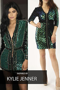 Celebrity Ladies Mermaid Two Tone Green Sequin Dress Bodycon Dress UK Size 8-16