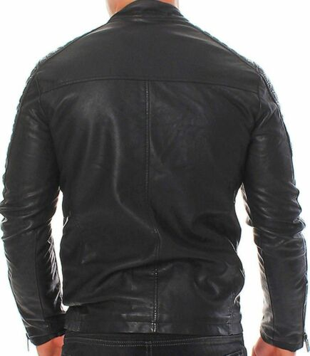Da Uomo Club Black Biker Giacca in Vera Pelle Vintage Slim Fit Retrò Motocicletta