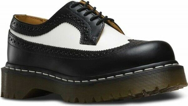 NEW Mens Dr Martens 3989 5 Eye Brogue Bex Sole Black White SMOOTH LEATHER Shoes