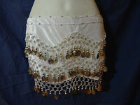 Professional White Belly Dance Costume With Silver Coins And Bead Trim