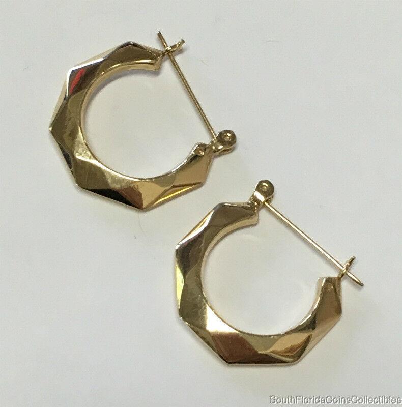 Estate Jewelry Ladies Octagonal Hoop Earrings 14K Yellow gold 7 8  Wide