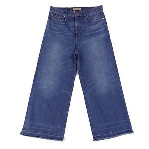 POINT SUR J.CREW Wide Leg Crop Raw Let Down Hem Jeans Size 31 Measure 32x25