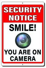 Security Notice Smile You Are On Camera Metal Sign Indoor Outdoor 3 Sizes