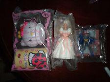 3 McDonald's toys 1992 Barbie bride 2007 Hello Kitty style kit & 1993 Batgirl