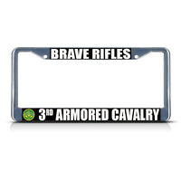 Brave Rifles 3rd Armored Cavalry Army Metal License Plate Frame Tag Border