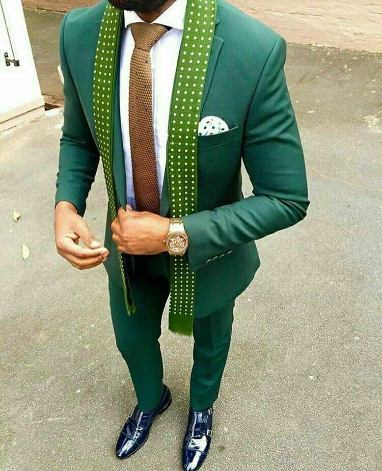 Formal Party Slim Fit Green Suits For Men Best Man Wedding Groom Tuxedos 2piece