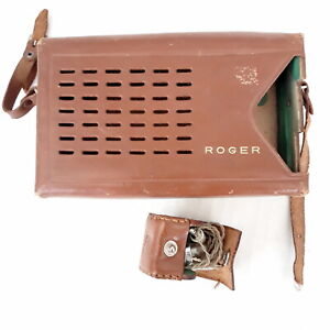 Roger Transistor Radio Leather Case ONLY  Vintage w/ Earphone in Pouch
