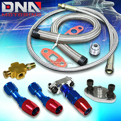 Turbo Oil Line Kit Car Modification Accessories Turbo Oil Feed Return Drain Line Kit 1//8 NPT Thread Fit for T3