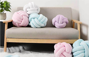 Handmade Round Ball Knot Throw Pillow Cushion For Kids Room Sofa Chairs Toys