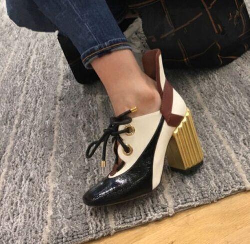 talón con ata ahuecan fuera zapatos hacia para bombas del europeos las medio arriba bloque los pie del estilo mujeres cuadradas del Las del z1qUw8Tw5