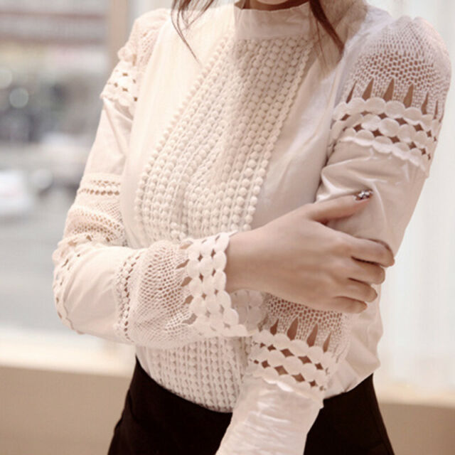 Women's Fashion Lace Crochet Hollow Slim Blouses Long Sleeve Shirt Tops US