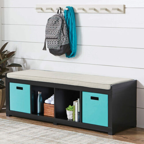 Black Entryway Storage Bench Wood Room Cushion Sitting Furniture Upholstered