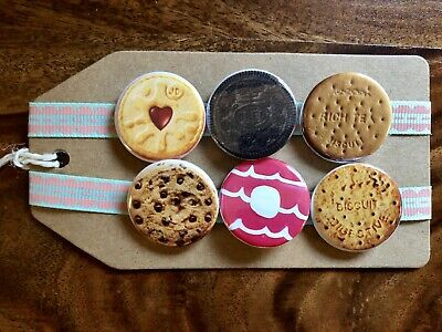 Oreo//Jammy Dodger//Digestive//Cookie Pin Badge Set Biscuits