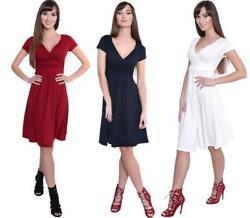 Kleid A-Linie Tunika Mini Kleid mit Raffungen überlappender V-Ausschnitt, 8416