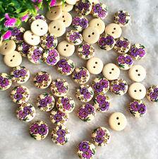 100pcs Wood Button 15mm Round Purple Flower 2 Holes Scrapbooking DIY Sewing